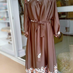 Coffee-brown-silk-dress-with-separate-belt